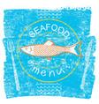 seafood restaurant menu on blue old paper vintage vector image