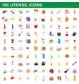 100 utensil icons set cartoon style vector image