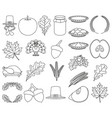 23 line art black and white thanksgiving elements vector image