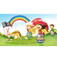 A bunny and kids with easter eggs vector image vector image