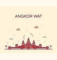 angkor wat skyline cambodia linear style vector image vector image
