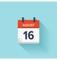 August 16 flat daily calendar icon Date vector image vector image