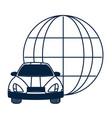 autonomus car around globe vector image vector image