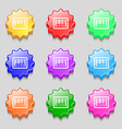 barcode icon sign symbol on nine wavy colourful vector image