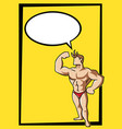 bodybuilder with bubble text vector image vector image
