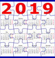calendar for 2019 new year jigsaw puzzle texture vector image vector image