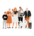 cartoon happy family portrait vector image vector image