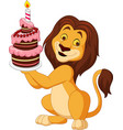 cartoon lion holding birthday cake vector image vector image