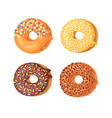 cartoon set of donuts hand vector image vector image