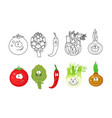 cartoon vegetables set coloring book pages fo vector image