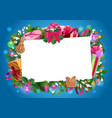 christmas frame xmas gifts and presents vector image