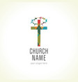 church cross crown thorns logo vector image