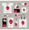 Corporate business cards strawberry design vector image vector image