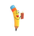 cute cartoon yellow pencil character reading a vector image vector image