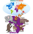 educational with african animals and continents vector image vector image