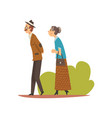 elderly couple walking in park senior man and vector image vector image