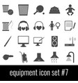 equipment icon set 7 gray icons on white vector image vector image