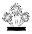 fireworks explosion decorative with ribbon vector image