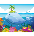 Fish island and coral in the sea vector image