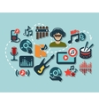flat music icons vector image