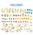 floral element flowers and grass hand vector image vector image
