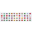 giant asia flag set with asian country flags vector image vector image