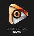 golden letter q logo in golden-silver triangle vector image vector image