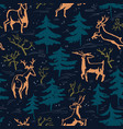 hand drawn winter seamless pattern with deer and vector image vector image