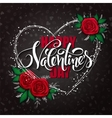 happy valentines day lettering with heart vector image