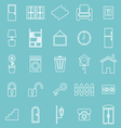 House related line icons on blue background vector image