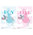 its boy and girl cards bashower label with vector image vector image