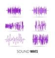 lilac sound waves set Audio equalizer vector image vector image
