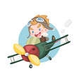 little pilot boy raising thumb riding plane vector image vector image