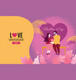 lovers holding flowers in an atmosphere of love vector image vector image