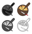 pizza on cutting board icon in cartoon style vector image vector image