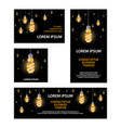 polygonal fluorescent light bulbs banners set vector image