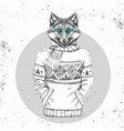 retro hipster animal fox dressed in pullover vector image vector image
