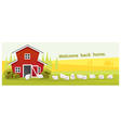Rural landscape and farm animal background with vector image vector image