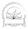 seal stamp with leaves icon vector image vector image