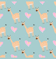 seamless pattern with cute giraffe and heart vector image vector image