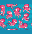 seamless pattern with pink cartoon octopuses vector image