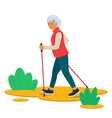 senior woman nordic walking in nature vector image vector image