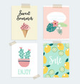 set hand drawn summer greeting or journaling vector image