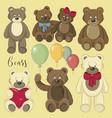 set of bear icon vector image vector image