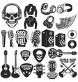 set rock music design elements guitar shop vector image