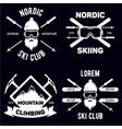 set ski club vintage mountain winter badges vector image