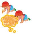 small girl draw a speech bubble vector image vector image
