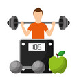 sportsman with fruits and dumbbell choosing vector image