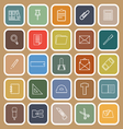 Stationery line flat icons on brown background vector image vector image