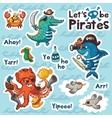 Sticker set of underwater pirates in cartoon style vector image